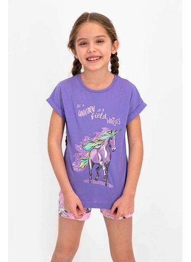 Roly Poly Rolypoly Unicorn Mor Kız Çocuk Şort Takım Mor